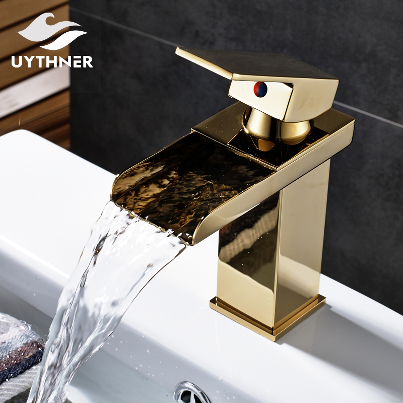 Gold Polished Solid Brass Bathroom Waterfall Spout Basin Faucet Single Handle Mixer Tap Deck Mounted chrome polished solid brass bathroom sink faucet waterfall spout bathroom basin mixer tap wall mounted