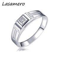 LASAMERO Rings for Men 0.067CT Round Cut Natural Diamond Ring 18k White Gold Engagement Wedding Ring