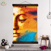 Half-face Golden Buddha Single Vintage Posters and Prints Scroll Painting Canvas Wall Art Pictures Framed Home Decor
