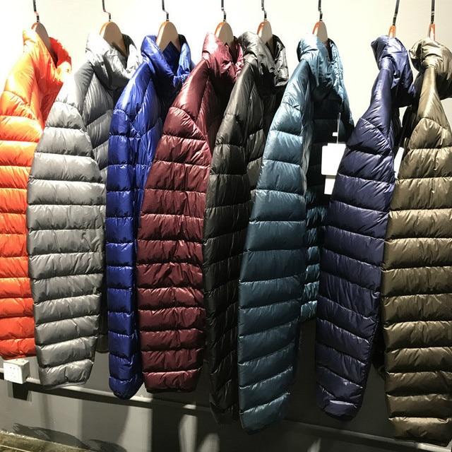 [Aiweier] Для мужчин пуховик большой Размеры зимние пальто на молнии Тонкий мужской Ultra Light Стенд воротник Белые куртки-пуховики для для мужчин