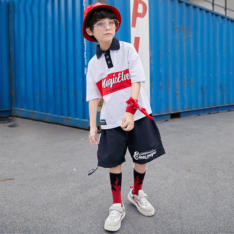 Kids Jazz Dance Costumes Children Modern Dance Stage Wear Competition Boys Hip-Hop Dancing Suits Boys Dance Wear Outfits DQS1225