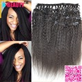 8a Virgin Indian Hair Coarse Yaki Clip in weaves 13x4 Free Shipping Kinky Straight Human Hair clip-ins weavings Free Shipping