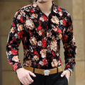 2016 Shirts Flowers Man Silk Shirts Long Sleeve Velvet Autumn Floral Mens Fashion Trendy Party Club Outfits Blusa Masculina