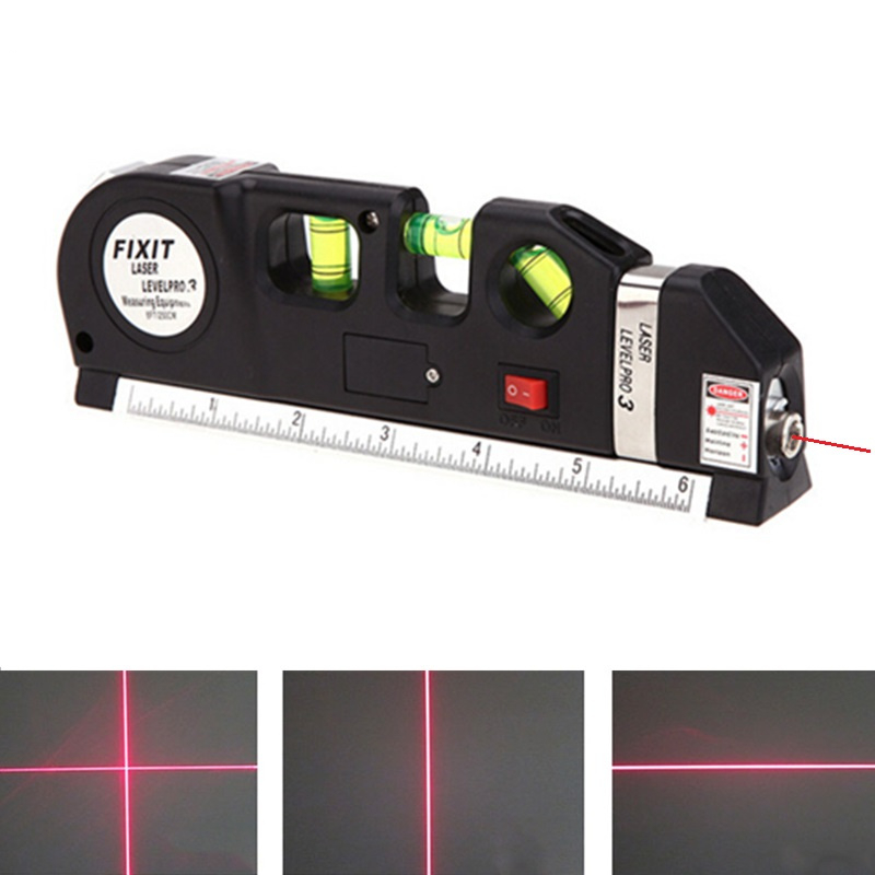 Multifunction Laser Level Marking Scale with Steel Tape Measure Horizontal Vertical Cross Laser Light Line Levelling Instrument free shipping kapro 810 clamp device laser infrared horizontal marking ruler