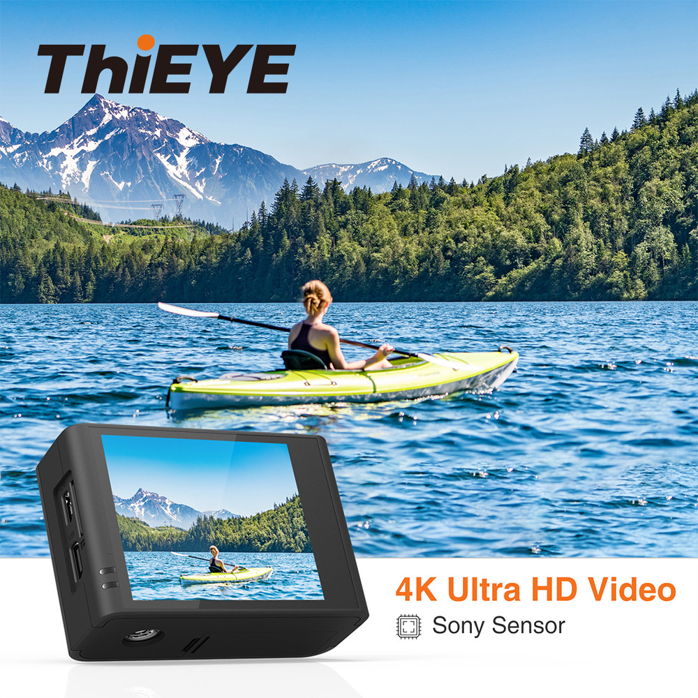 ThiEYE T3 WiFi UHD 4K Action Camera Can Charging in the Water Sports Camera with Gyro Stabilizer 60M Waterproof