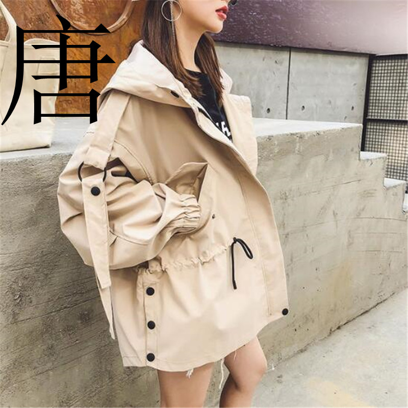 Tang cool 2019 New brand Casual   Trench   coat for women Pleated Zipper Hooded Short Windbreaker Female Loose Plus size coat
