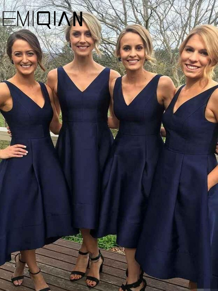 Navy Blue Dress For Wedding Party Elegant A Line V Neck High Low Sexy Bridesmaid Dresses(China)