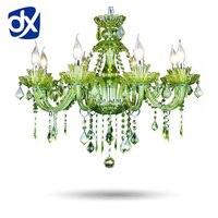 High Quality Green K9 Crystal Chandelier Lustre Crystal Chandeliers Light Lustres De Cristal Chandelier LED Villa