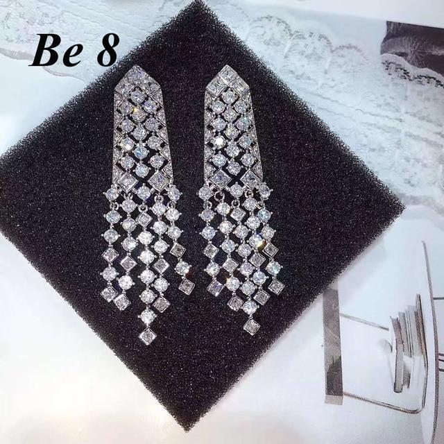 Серьги кисточки be8 с фианитом aaa + модные серьги кисточками