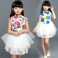 Children's Clothing Chinese Style Cheongsam Floral Princess Dress Cake Turtleneck Button Party Tutu Dresses For Girls Costume