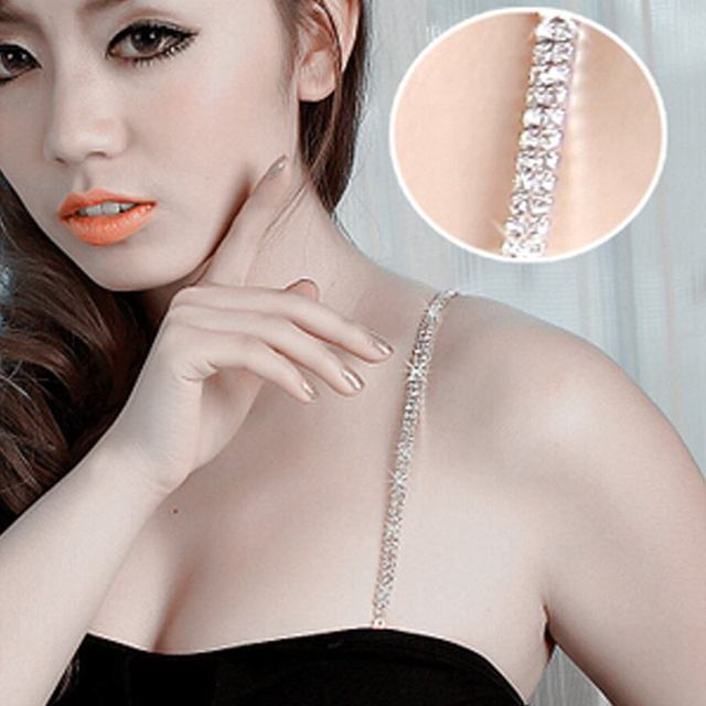 786e94ba2839c bra straps Transparent Clear 2 Rows Crystal Gorgeous Prom Diamante  Rhinestone Bra Straps Belt Adjustable Sparkle shoulder strap