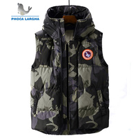 2019 New Brand Winter Vests Men's Casual Cotton Jackets Fashion Camouflage Warm Thick Hooded Vest Outerwear Male Plus Size 4XL