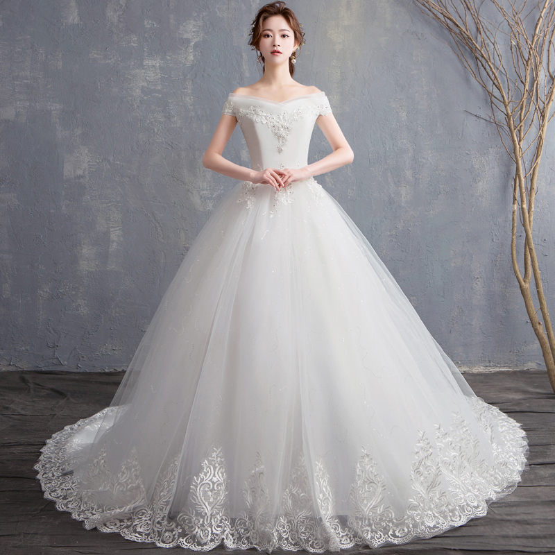 Do Dower 2019 New Sexy Boat Neck Wedding Dress Elegant Princess Slim Sequin Flower Taille Wedding
