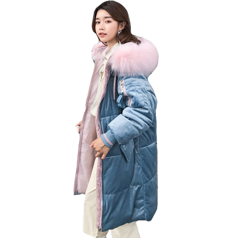 2019 High Quality Women Winter Jacket Velvet With Fur Hooded Warm Thicken Parka Long Coat Cotton Padded Parkas