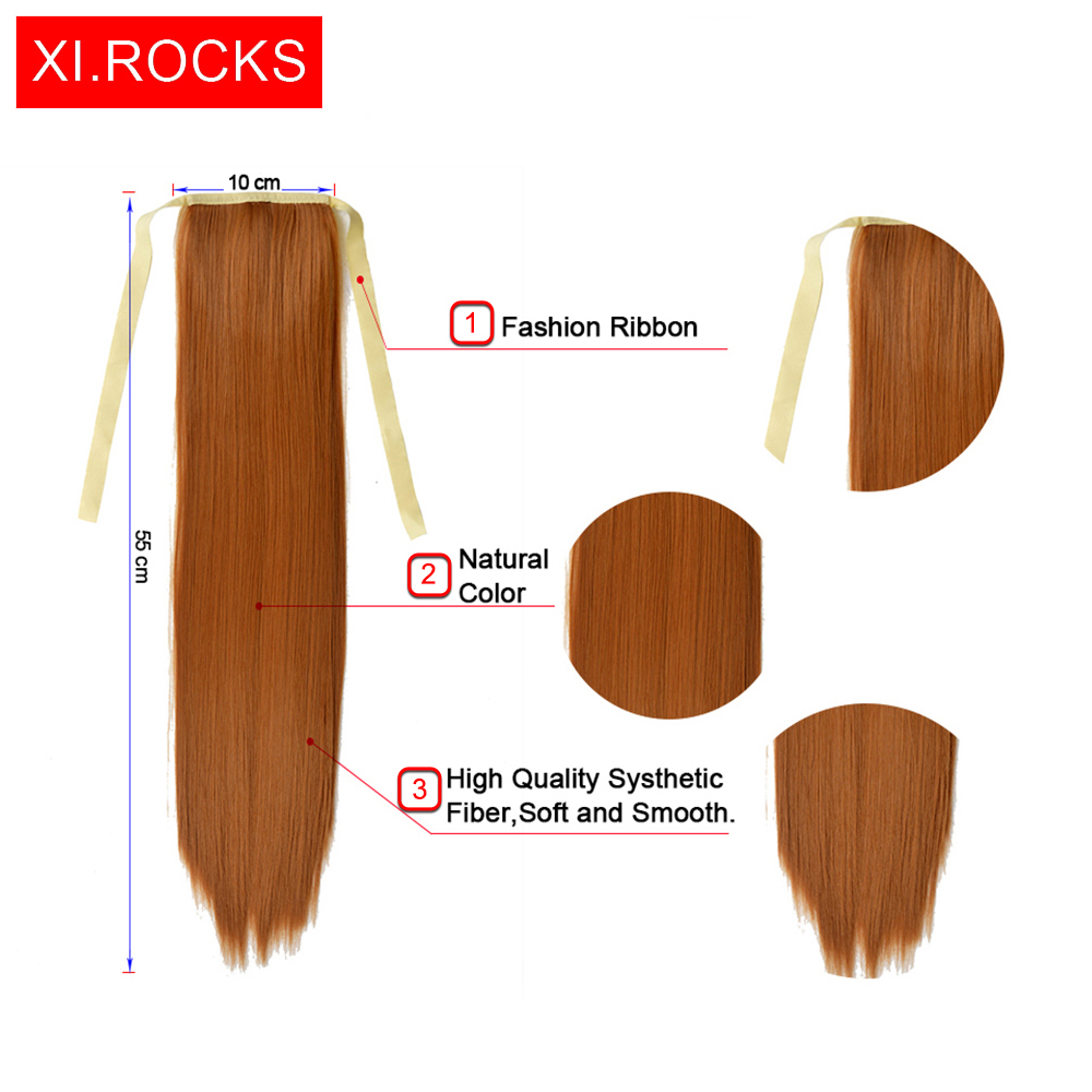 Xi.rocks Straight Hair Ponytails 25Colors Syntetisk - Syntetiskt hår - Foto 5