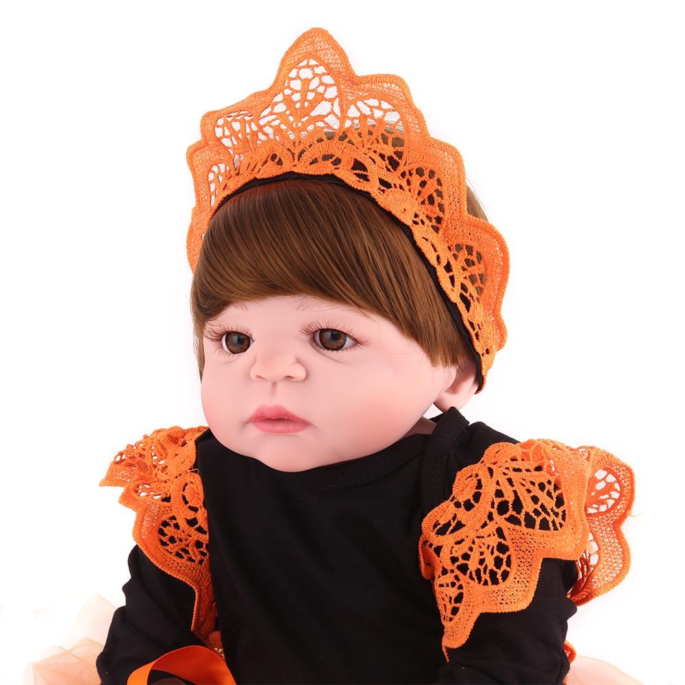 "55cm Full Body Silicone Reborn Baby Girl Dolls Reborn 22""Bath Reborn Babies Dolls  Children Gift  Bebe Alive Boneca"