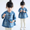 2016 new style hot sale baby girl denim coats for spring and autumn infant cotton casual princess outerwear