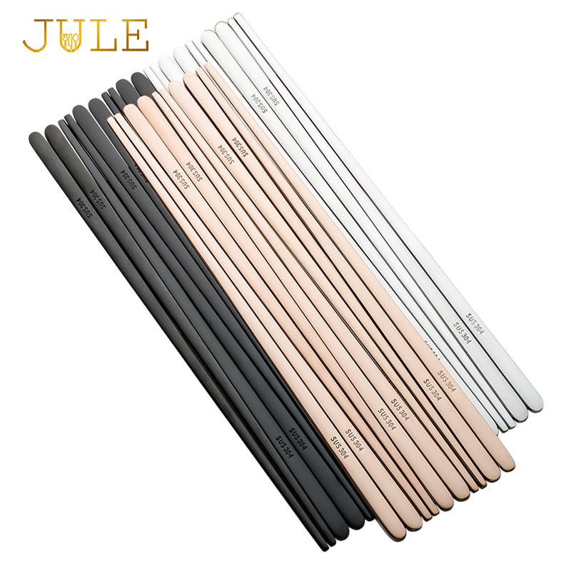 5pairs 304 Stainless Steel Korean Chopsticks Japanes Sushi Black Metal Food Chop Stick Flat Durable Palillos Chinos Bordservice