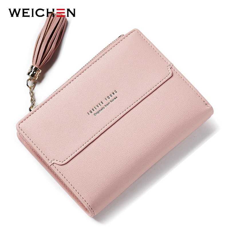 WEICHEN Tassel Zipper Small Wallet Women Coin Pocket Casual Female Purse Card Holder Lady Ladies Leather Wallets Bolsa Feminina