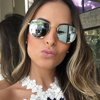 VictoryLip 2017 New Women Men Sunglasses Mirror Lady Fashion Brand Designer Hexagon Sun Glasses Lady UV400