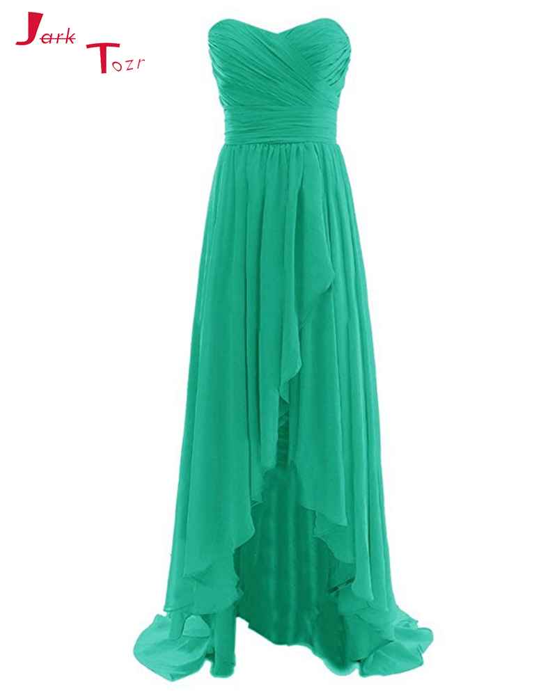 Jark Tozr Pleated Bodice Simple   Bridesmaid     Dresses   Colorful Chiffon Party   Dress   High Low Robe Demoiselle D'honneur Pour Femme