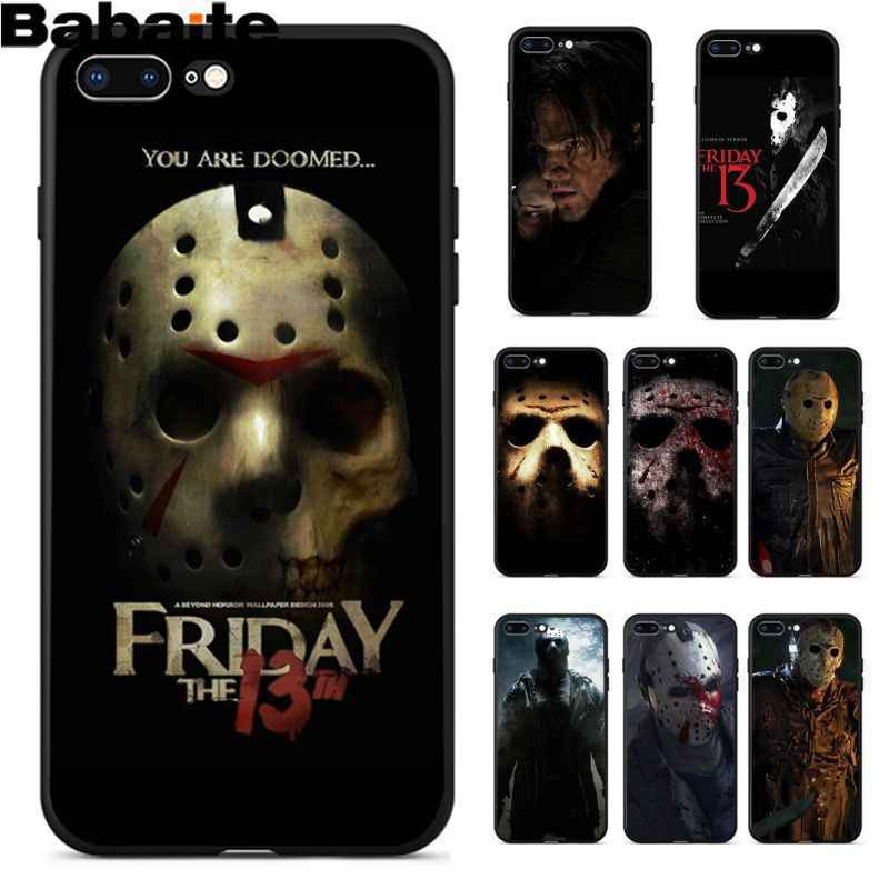 Babaite Jason Voorhees Friday The 13th Tpu Hitam Ponsel Case Penutup Shell untuk Apple iPhone 8 7 6 6S plus X XS Max 5 5S SE XR