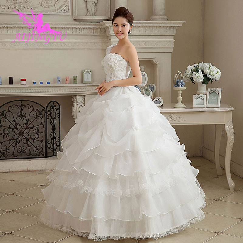 AIJINGYU 2018 Sexy Free Shipping New Hot Selling Cheap Ball Gown Lace Up Back Formal Bride Dresses Wedding Dress WK582
