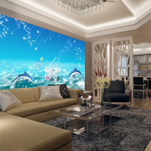 beibehang Large 3D murals non woven wallpaper children's bedroom bedroom TV wall seamless dolphins contact contact-paper