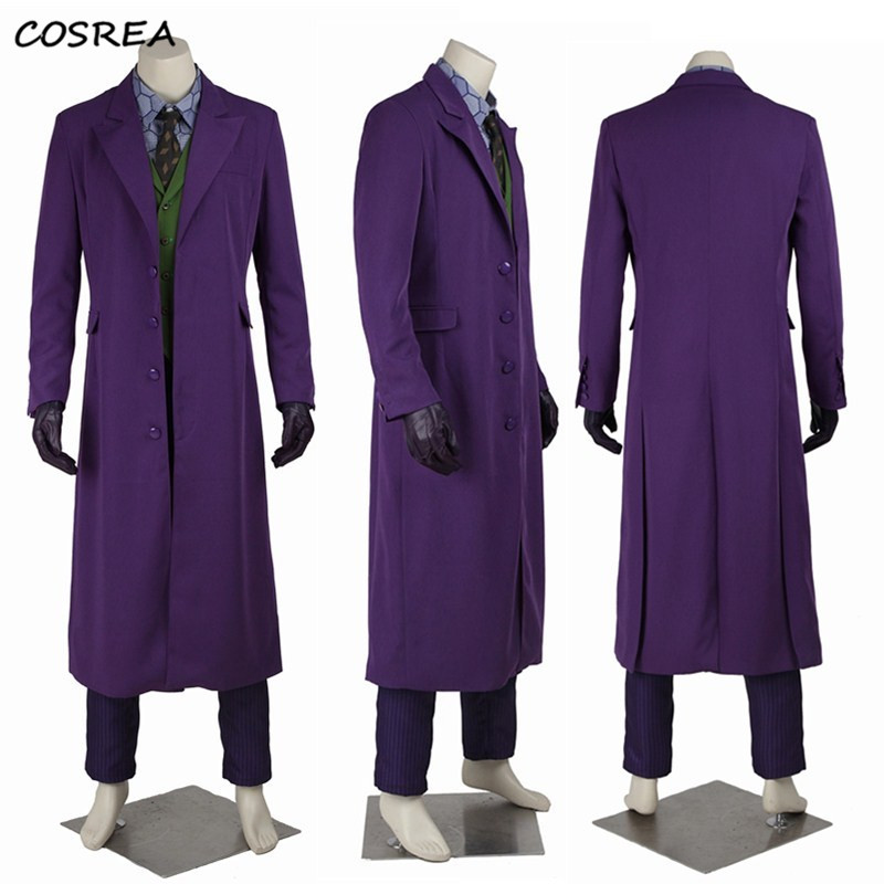 Batman The Dark Knight Movie Joker Cosplay Costumes Hero Suit Outfits Classic Adult Halloween Carnival Party Full Set Customize