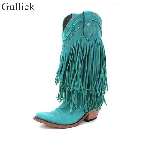 Gullick Cowboy Mid-calf Motorcycle Boot Gladiator Winter Fringed Low Heels Boots Slip-on Tassel Suede Leather Woman Casual Shoes gladiator lady mid calf cowboy flats boots shoes round toe fringed slip on fashion boots leather long sexy boots shoes free ship