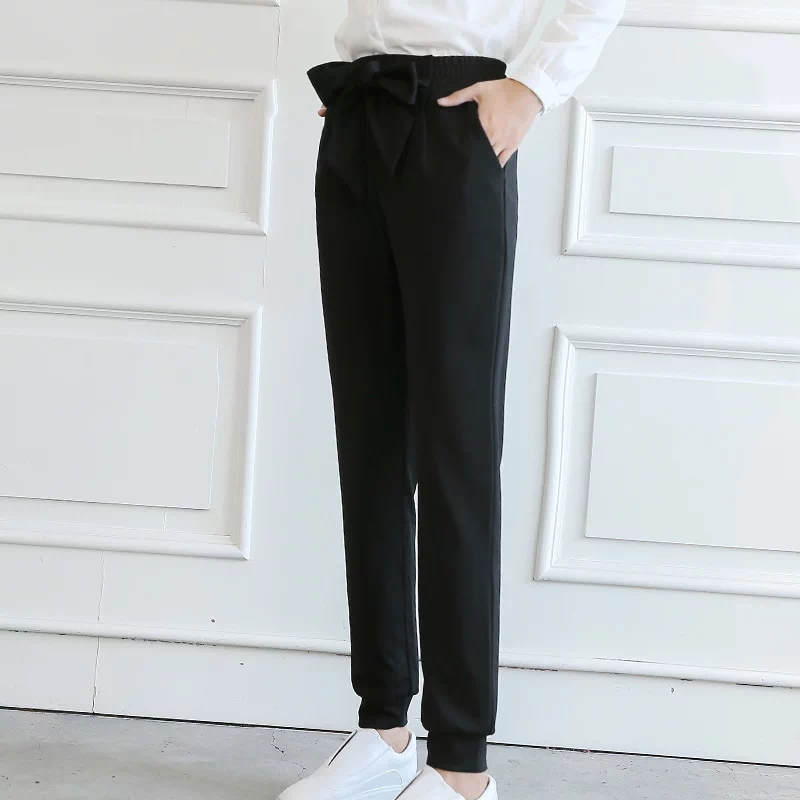 QIAOYI JIA Women OL high waist harem pants bow tie drawstring sweet elastic waist pockets casual trousers pantalones black/white 4