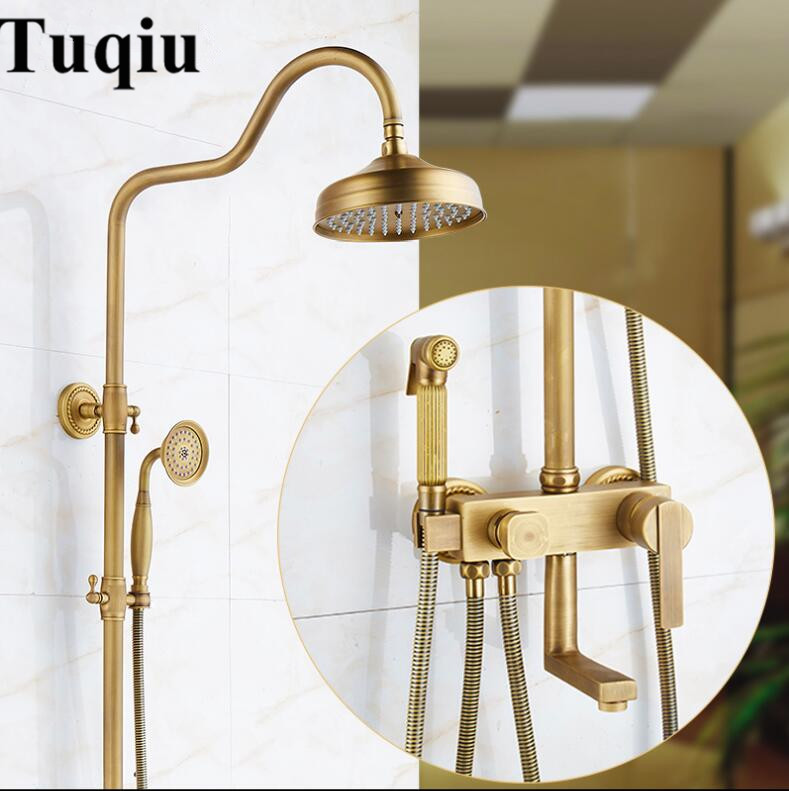 Shower Faucets Antique Brass Shower Set Faucet Tub Mixer Tap Hand held Shower Wall Mounted Rainfall Bath Crane Shower shower faucet wall mounted antique brass bath tap swivel tub filler ceramic style lift sliding bar with soap dish mixer hj 67040