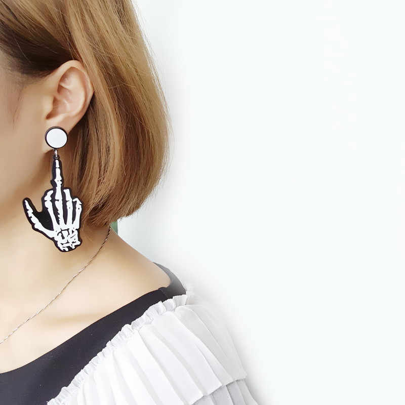 Skull Bone Skeleton Hand Earring Goth Punk Rock Acrylic Fashion Statement Earrings