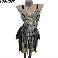 Pearl Crystals Tassels bodysuit Bar Sexy Female costumes singer dancer Stage dancing DJ DS performance clothing nightclub party