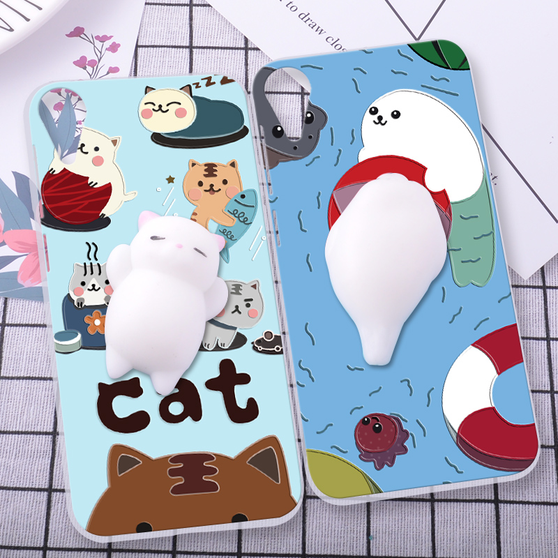 ShuiCaoRen Silicone Cases For HTC Desire 825 Case 3D Squishy Finger Pinch Cat Skin For HTC desire 10 lifestyle Cover