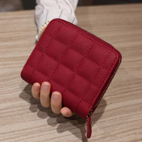 New 2017 Fashion Plaid Women Short Wallet Luxury Brand PU Leather Female Clutch Purse Vintage Zipper