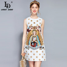 LD LINDA DELLA New Fashion Runway Summer Dress Womens Sleeveless Luxury Sequin Beading Vintage Angel Printed Short