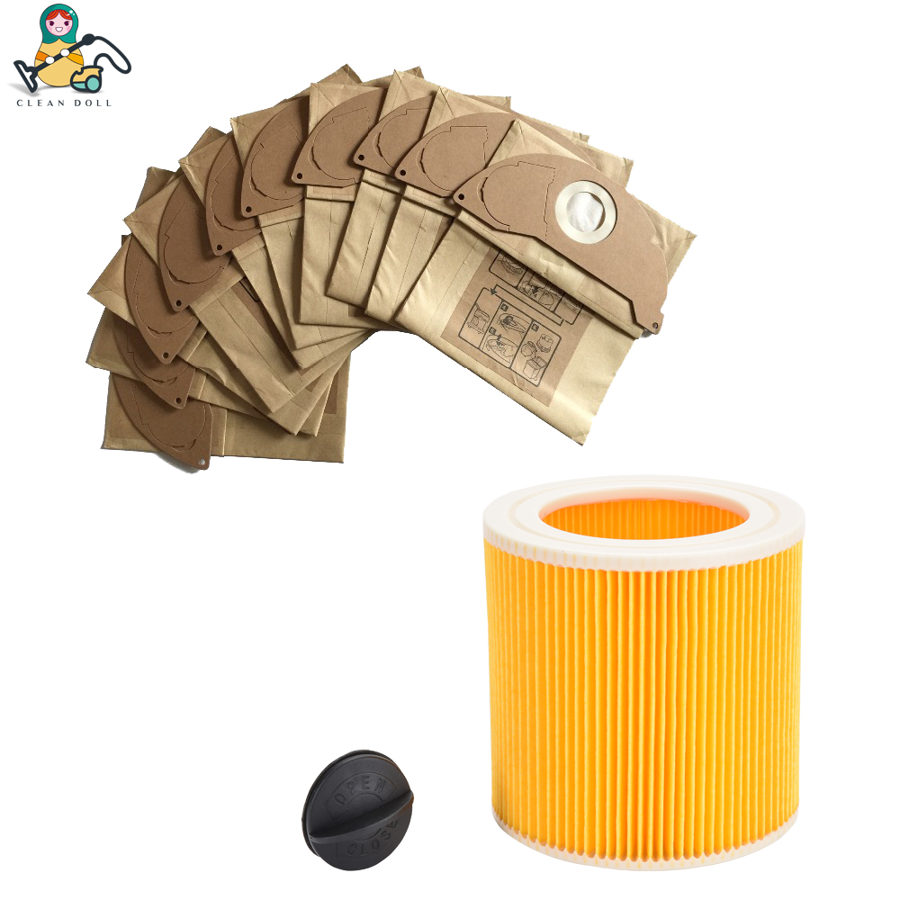 CLEAN DOLL Cartridge Filter & Dust Bags For Vacuum Cleaner KARCHER MV2 IPX4 WD2 A2004 A2054 A2204 Vacuum Cleaner Bags And Filter