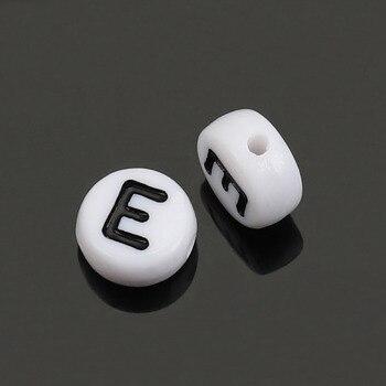"""500 Uds. Doreen Box cuentas espaciadoras de acrílico alfabeto/letra """"E"""" plana redonda 7mm Dia. Cuentas para hacer joyas DIY accesorios al por mayor"""
