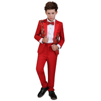 Boy costume embroidery mariage jogging blazer Boys suits for weddings kids Blazer Suit boys tuxedo clothes sets H454