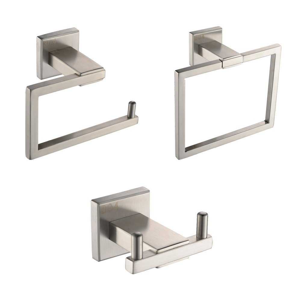 Bathroom Accessories Us 39 9 Kes La242 31 Bathroom Accessories Tissue Holder Double Hook Towel Ring Sus304 Stainless Steel Wall Mount Brushed Finish In Bath Hardware