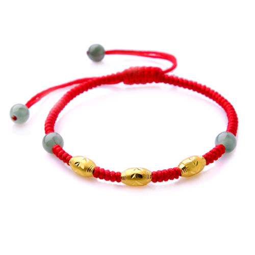 Best Gift Pure 999 24k Yellow Gold Three Charming Beads Lucky Knitted BraceletBest Gift Pure 999 24k Yellow Gold Three Charming Beads Lucky Knitted Bracelet