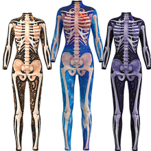 Fashion Print Skull Skeleton Glod Green Jumpsuit Catsuit Sexy Cosplay Costumes Halloween Women Bodysuit Fancy Dress