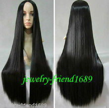 Wholesale heat resistant LY free shipping New wig Heat Resistant Cosplay New long Black Halve Straight