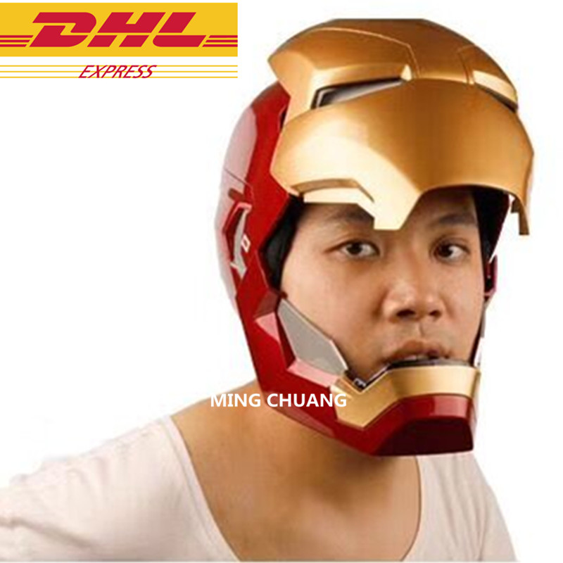Avengers Infinity War Superhero Iron Man Wearable Helmet 1:1 With Led Light With Sound Action Figure Collectible Model Toy J339