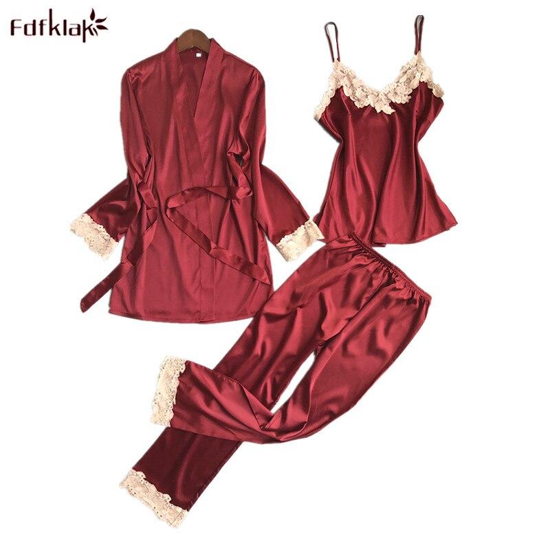 Fdfklak Sexy Silk Satin Pajamas for Women 3 Pieces Pajama Set Ladies Sleepwear Robes Casual Lace Pijama Suit Pyjama Femme