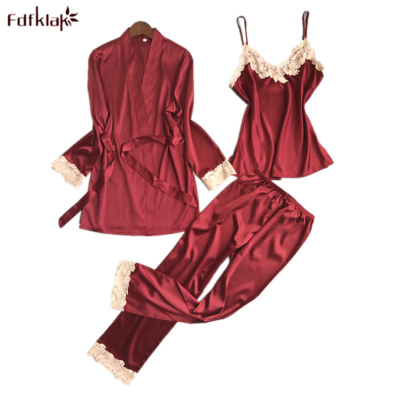 Fdfklak Sexy Silk Satin   Pajamas   for Women 3 Pieces   Pajama     Set   Ladies Sleepwear Robes Casual Lace Pijama Suit Pyjama Femme