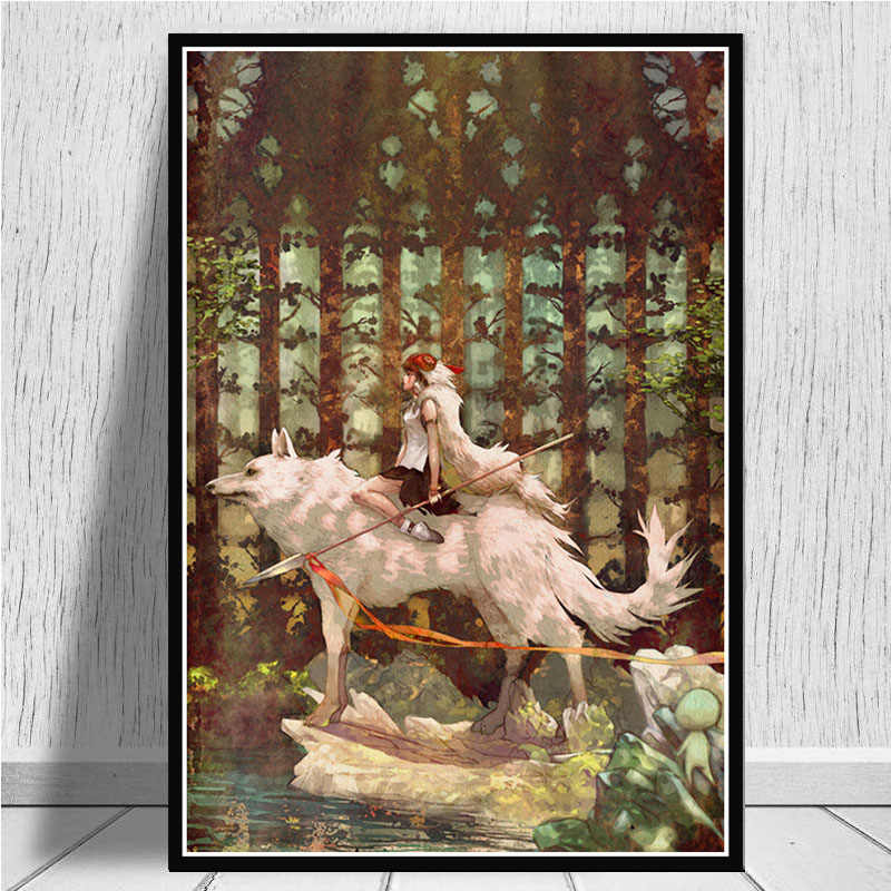 Posters and Prints Princess Mononoke Studio Ghibli Tribute Anime Poster Wall Art Picture Canvas Painting for Room Home Decor