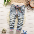 2016 New baby girls  floral belt girls slim trousers jeans children's clothing
