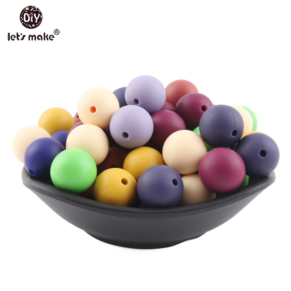 Let's Make Baby Teether 15mm 10pc Silicone Beads Round Food Grade Silicone Teether DIY Baby Nursing Accessories Teething Toys